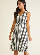 Stripe Print Sleeveless Belted Dress, Black