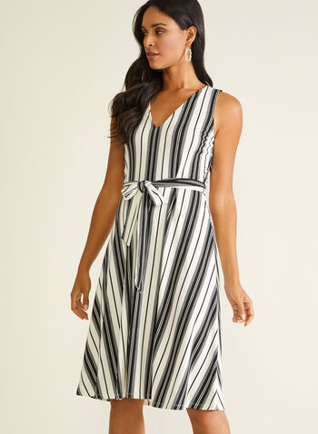 Stripe Print Sleeveless Belted Dress, Black,  day dress, stripe print, belt, sleeveless, crepe, spring summer 2020