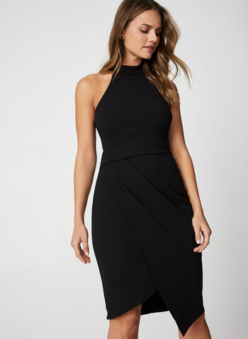 Halter Neck Dress, Black,  dress, little black dress, halter neck, sleeveless, sleeveless dress, holiday, fall 2019, winter 2019