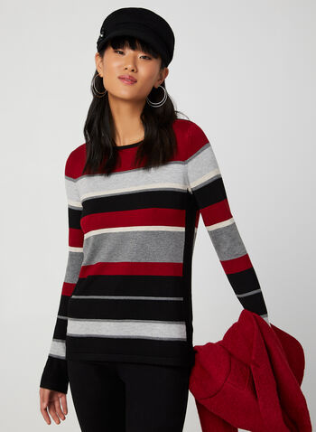 Stripe Print Knit Sweater , Red,  sweater, stripe print, long sleeves, boat neck, knit, fall 2019
