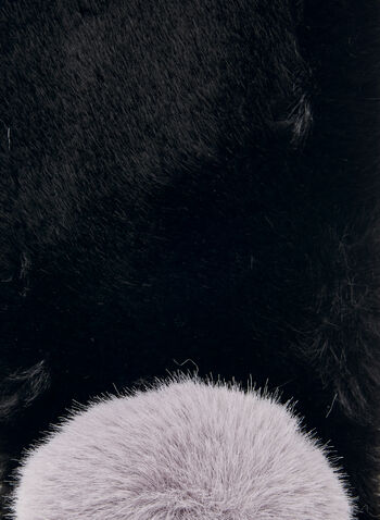 Foulard à pompon en fausse fourrure , Noir,  foulard, hiver, fausse fourrure, pompon, accessoire, automne hiver 2020