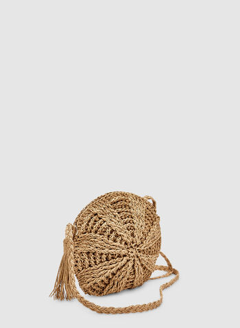 Round Straw Crossbody Bag, Off White, hi-res