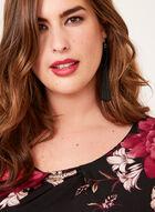 Angel Sleeve Floral Print Jersey Top, Black, hi-res