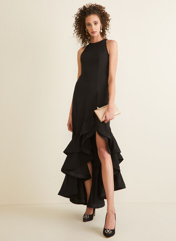 Sleeveless Flounce Detail Dress, Black,  dress, evening, occasion, flounce, asymmetric, ruffled, fitted, sleeveless, round neck, spring summer 2020