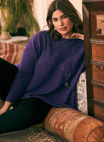 Asymmetric Tunic Sweater, Purple,  fall winter 2020, sweater, tunic, knit, long sleeves, boat neck, draped, asymmetric, ribbed