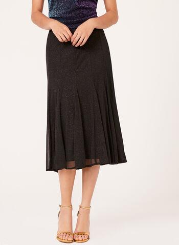 Glitter Mesh A-Line Skirt, Black, hi-res
