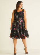 Floral Print Lace Dress, Black