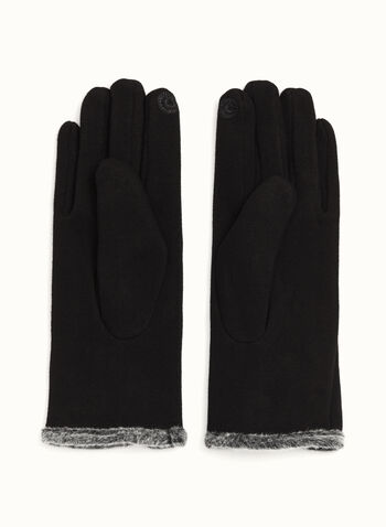 Gants tactiles en tricot bordés de fausse fourrure, Noir, hi-res