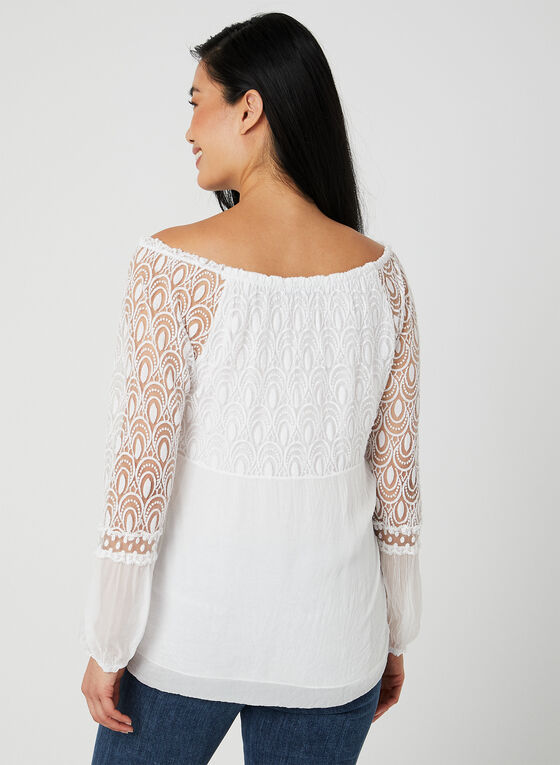 Charlie B - Lace Balloon Sleeve Top, White, hi-res