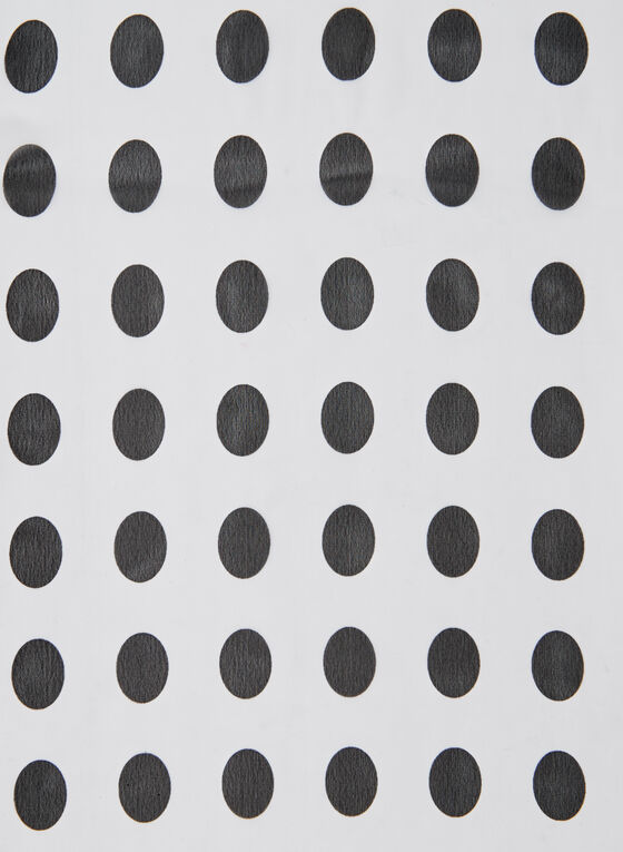 Oblong Polka Dot Print Scarf, White