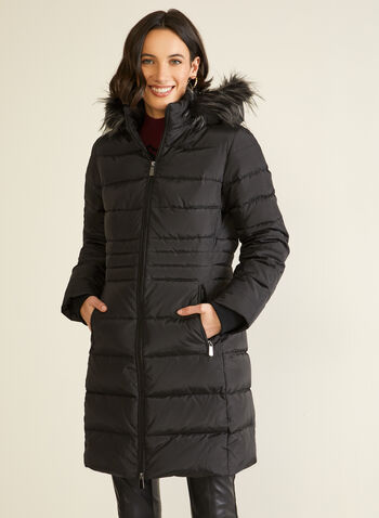 Down Blend Quilted Coat, Black,  fall winter 2020, coat, down blend, quilted, quilting, stand collar, removable, hood, faux fur, long sleeve, ribbed, knit cuffs, zipper, water repellent, warm, winter, fill, machine washable, dryer safe, laura exclusive