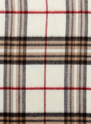 Plaid Fringe Scarf, Brown, hi-res