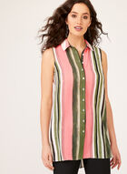 Sleeveless High-Low Striped Tunic, Multi, hi-res