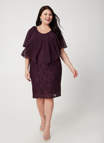 Lace Poncho Dress, Purple,  fall winter 2019, poncho, lace, sheath dress