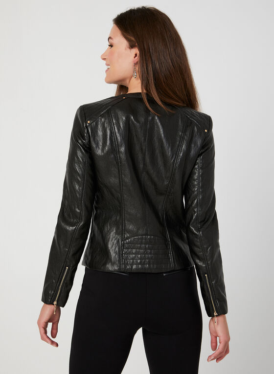 Faux Leather Front Zip Blazer, Black