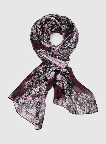 Paisley Print Scarf, Red, hi-res