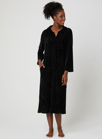 Hamilton - Zip Front Velvet Nightgown, Black, hi-res