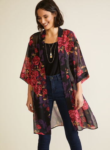 Floral Print Open Front Blouse, Black,  top, open front, floral print, chiffon, 3/4 sleeves, kimono, fall winter 2020
