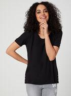 T-shirt à boutons décoratifs, Noir, hi-res