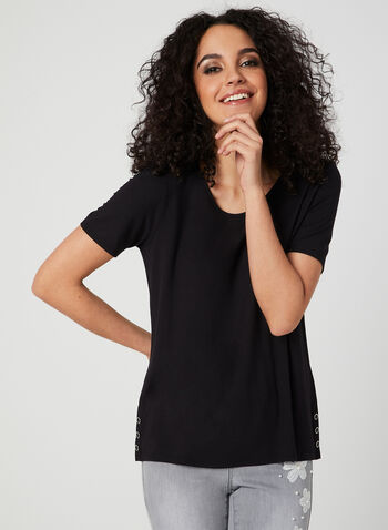 Button Detail T-Shirt, Black, hi-res
