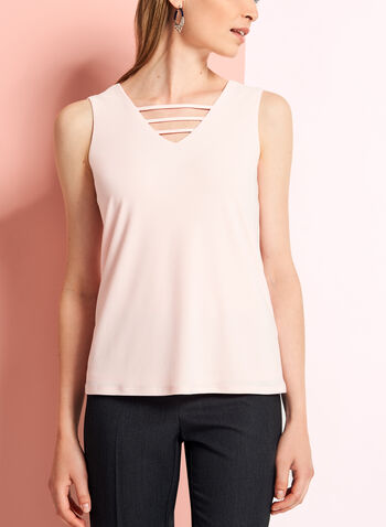 Crepe Knit Cutout Detail Blouse , Pink, hi-res