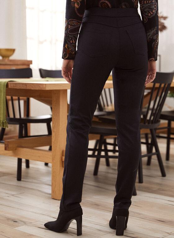 Mini Check Print Pull-On Pants, Grey