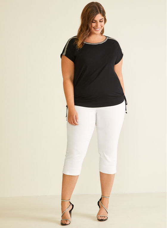 Embroidered Detail T-Shirt, Black