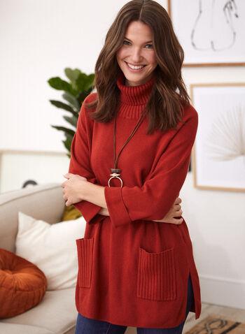Pull tunique à col roulé , Rouge,  chandail, tricot, pull, tunique, manches longues, col roulé, poches, fentes, tricot, printemps été 2021