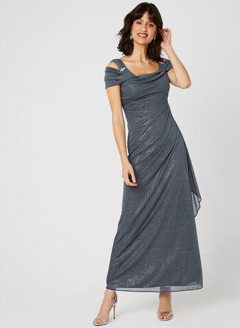 Cold Shoulder Glitter Dress, Grey, hi-res
