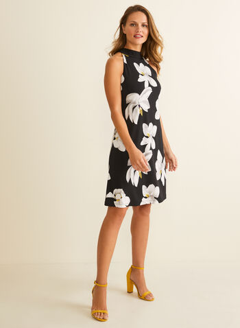 Floral Print Sleeveless Dress, Black,  dress, sleeveless, tie, floral, a-line, spring summer 2020