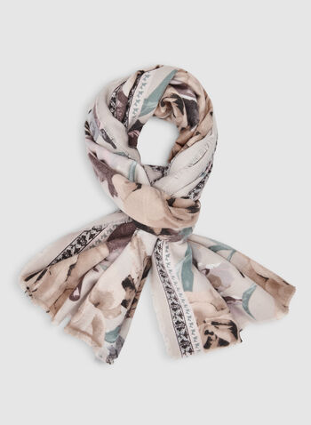 Rose Print Scarf, Off White,  scarf, floral, rose, fringes, fall 2019, winter 2019