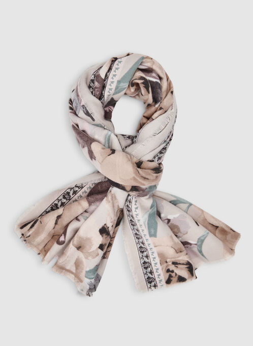 Rose Print Scarf, Off White
