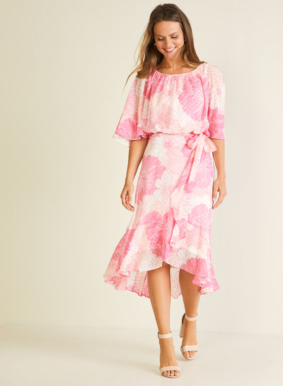 Robe fleurie effet plumetis en mousseline, Rose