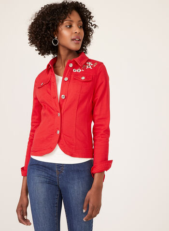 Floral Embroidered Denim Jacket, Red, hi-res