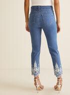 Jeans à jambe étroite et ourlet brodé , Bleu