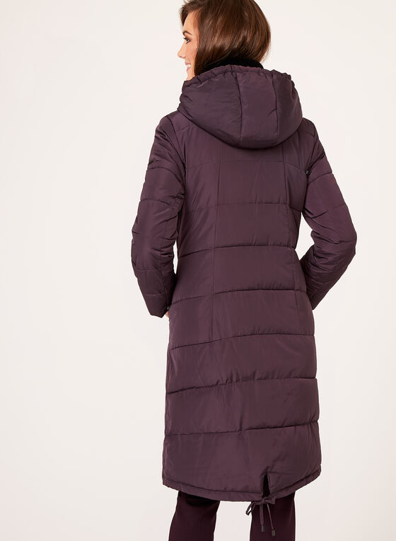 Novelti - Manteau matelassé avec col en velours, Violet, hi-res