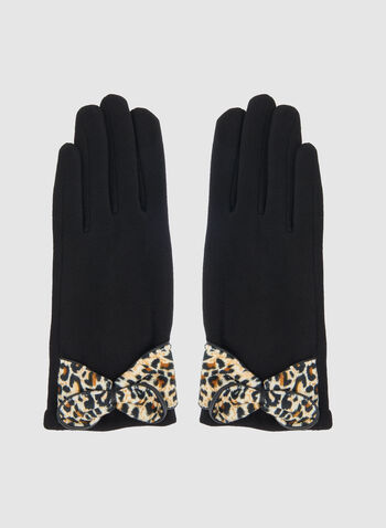 Leopard Print Bow Gloves, Black,  gloves, animal print, leopard print, printed gloves, print, winter 2019, fall 2019