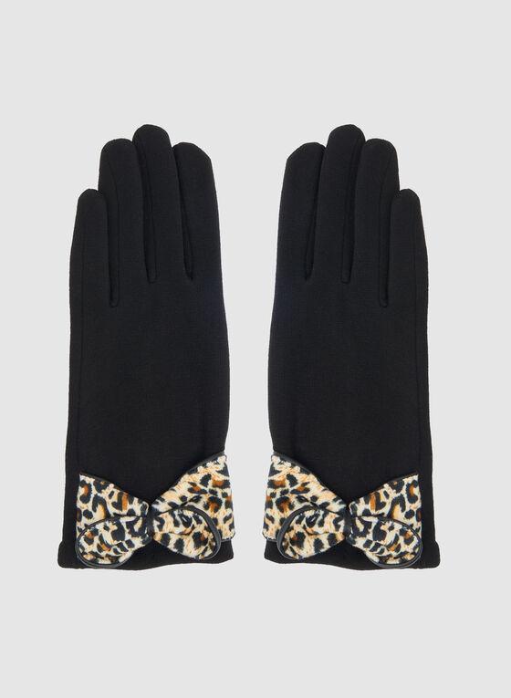 Leopard Print Bow Gloves, Black