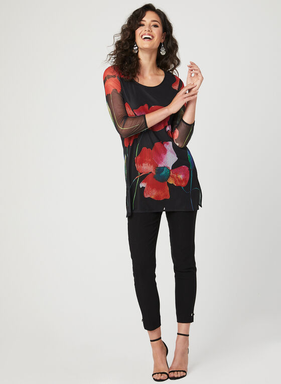 Floral Print Mesh Overlay Tunic, Black, hi-res