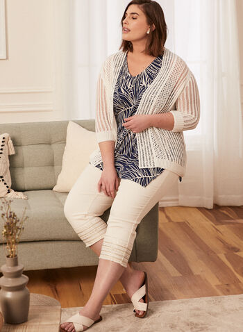 Pointelle Open Front Cardigan, White,  spring summer 2020, cardigan, 3/4 sleeves, pointelle knit