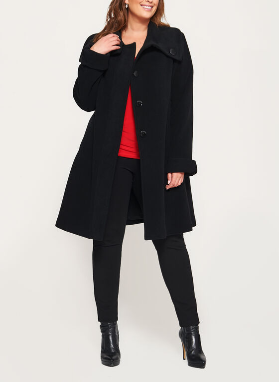 Cashmere Blend A-Line Coat, Black, hi-res
