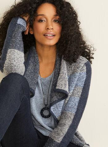 Haut en tricot chiné, Bleu,  manches dolman, manches 3/4, manches ¾, fait au Canada, automne hiver 2019