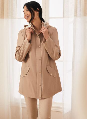 Removable Hood Raincoat, Brown,  coat, raincoat, rainwear, hood, zipper, button, pockets, high collar, spring summer 2020