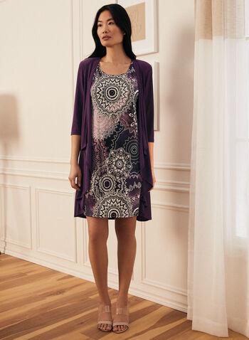 Robe motif médaillon et cardigan, Violet,  robe, robe de jour, cardigan, jersey, médaillon, collier, printemps été 2021