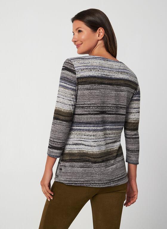 Stripe Print Top, Grey