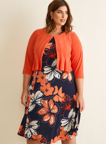 Cardigan & Floral Print Dress, Orange,  dress, day, floral, cardigan, pleated, jersey, fit & flare, scoop neck, spring summer 2020