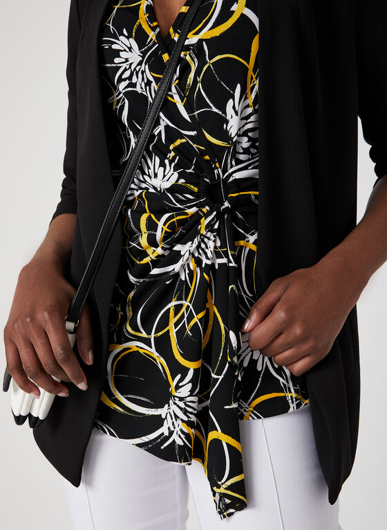 Abstract Print Faux Wrap Top, Black