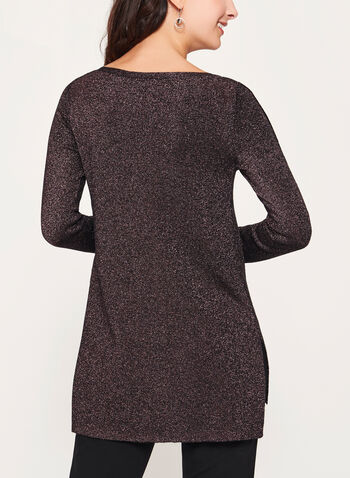 Lurex Knit Tunic, Black, hi-res