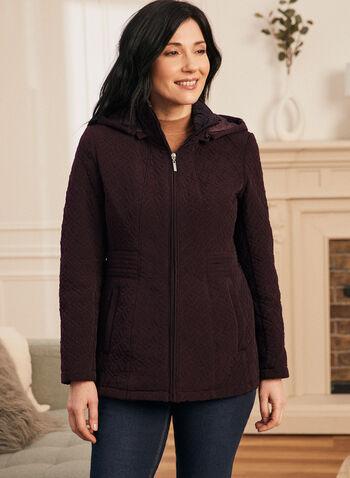 Manteau matelassé en duvet végane, Violet,  manteau, duvet, végane, chevrons, col montant, printemps été 2020