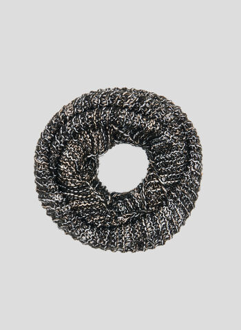 Knit Infinity Scarf, Black, hi-res